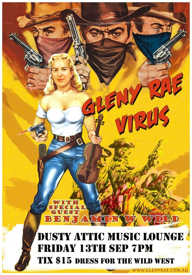 Glenn rae virus Wild West theme, dusty attic music lounge,